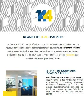 newsletter 144 coworking MAI-19